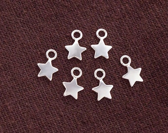 6 of 925 Sterling Silver Star Charms 6mm., Tiny Charms  :tk0138