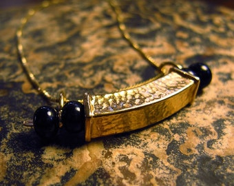 "Gold Vermeil (22kt) and Onyx ""Box"" Necklace"