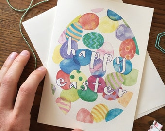 Easter Egg Card. Happy Easter Card. Watercolor Eggs. Kids Easter Card. Watercolor Card. Easter Gift. Blank Card. Colorful Eggs Card