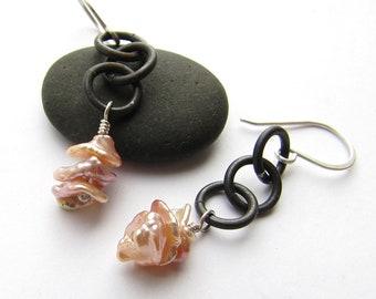 Steel & Pearls earrings