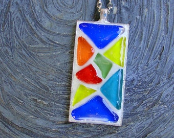 Mosaic Rainbow Colors Pendant Ooak Original Stained Glass