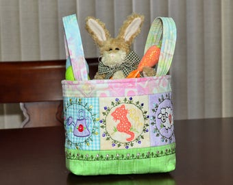 Handmade Basket - Fabric - Embroidered -Spring - Easter Fabric Basket - Embroidered Fabric Easter or Spring Basket