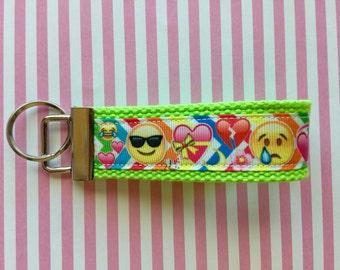 Emoji ruban doigt mini porte-clés porte-clés coton sangle 1,25 pouces porte-clés