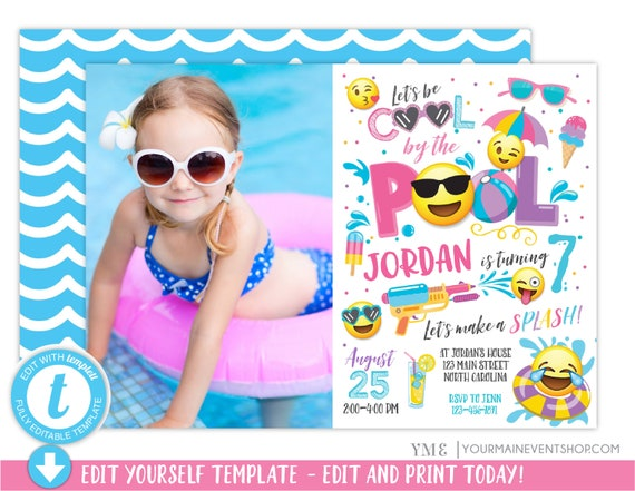 Emoji Pool Party Invitation Pool party birthday invitation Photo Girl Emoji Pool Party party invitation Cool by the Pool Summer Swim Party