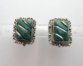 "Vintage Mexican Sterling & Green Stone Earrings - 7/8"" screwbacks - 1950s"