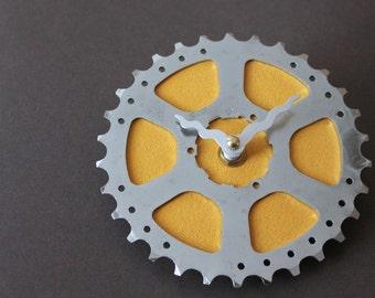 Bicycle Gear Clock - Little Yellow | Bike Clock | Wall Clock | Recycled Bike Parts Clock