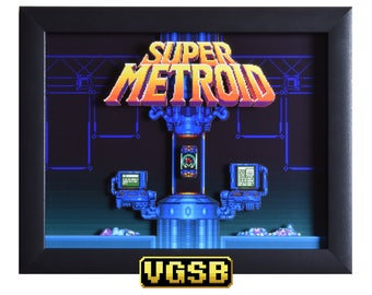 Super Metroid Shadow Box - Title Screen - SNES - Super Nintendo - 3D Shadow Box Glass Frame - 12x10 - Christmas Gift - Retro Gamers