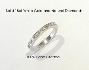 18ct 750 white gold natural round brilliant cut diamond eternity wedding ring