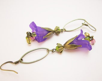 Purple Orchid Handmade Lucite Flower Earrings Frosted Lucite and Antique Brass Czech Glass Art Nouveau Inspired  Summer Romantic Ethereal