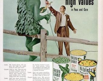 1952 Jolly Green Giant Advertisement & Oklahoma's Fire Baton Twirler Majorette Full Page Photograph Restaurant Diner Wall Art Home Decor