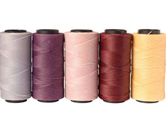 50 meters Waxed Polyester Cord, Macrame Cord 0.8mm, Waxed Cord, Macrame Thread - Set of 5 Colors - 10 meters each color