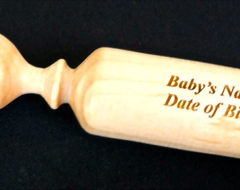 Wooden Baby Rattle Handmade Personalized Heirloom