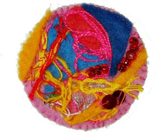 """Embroidered brooch """"Sea at sunset"""""""
