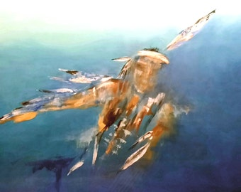 Eagle Dancer Abstract Original Painting Earthy Blues and Browns Extra Large Wall Art
