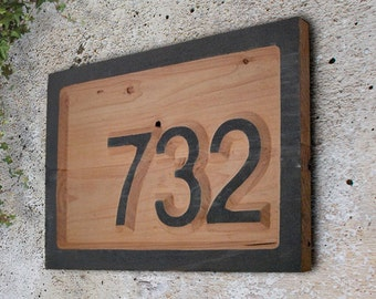 "17.5""x10.5"" Raised letter Redwood Plaque, Housewarming Gift, Realtor Gift, Address Sign, House Number, Number Plaque, Carved wood sign"