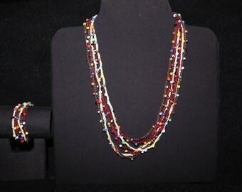Crochet beaded necklace and bracelet set