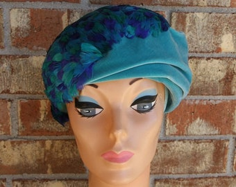 Vintage 60s1960s Mod Feather Velvet Turban Topper Hat Miss Mary Gorgeous