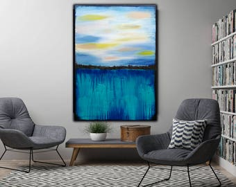Original Blue Abstract art on Canvas, Acrylic painting,, 31x47 inch , Modern wall art , Textured Painting