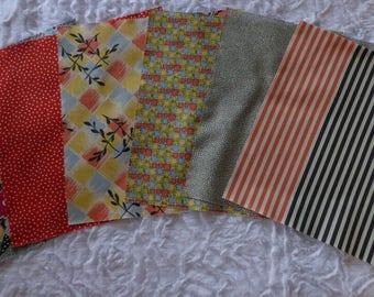 Set of 6 patchwork blocks 25.4 X 25.4 cm GARDENVALE by Moda