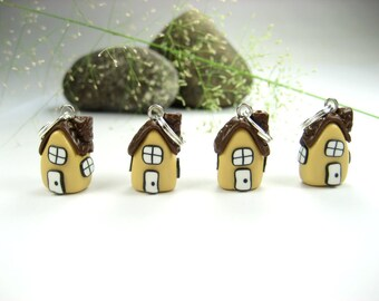 Whimsical House Stitch Markers 4x, knitting accessories, knit charms polymer clay miniature houses home cute kawaii fairy gift for knitters