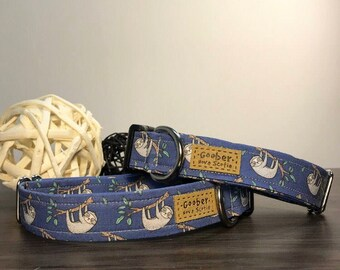 Sloth dog collar, blue, tree