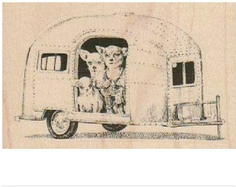 Rubber stampDog Family in Trailer   mounted  scrapbooking supplies number 19115