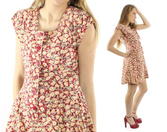 Vintage 80s Skorts Mini Dress Sun Suit Sundress Romper Playsuit Red Floral Daisy 1980s Medium M Petite