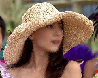 crocheted raffia straw sun hat, wide brim floppy hat,huge brim sun hat