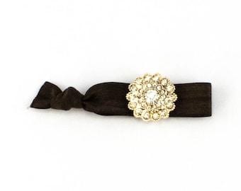 Rose Gold Hair Tie - 1 Rhinestone Elastic Hair Ties that Double as Bracelets