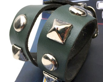 Teal Blue Leather Dog Collar with Chunky Silver Metal Studs, Size S-M, to fit a 13-16in Neck, Small to Medium Dog, USA Seattle Handmade OOAK