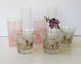 Collection of Mid Century Modern Barware - 7 Piece set  2 Tall Ice Tea Glasses - 3 Flared Low Balls - 2 Tumblers - Florals - Pink - Gold