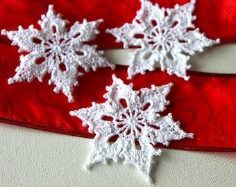 Sparkle Crochet Snowflakes Christmas Ornament Appliques Set of 3