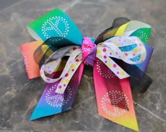 Rainbow peace hair bow with clip