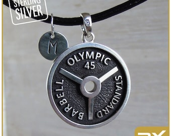 Weight lifting pendant Fitness initial jewelry Weight plate Bodybuilder Weightlifting Barbell Motivation jewelry Body builder Powerlifting