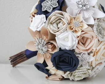 A Book Bouquet - Belinda Book Page Brooch Bouquet - A Paper Bouquet Customized to Any Color Of Your Choice