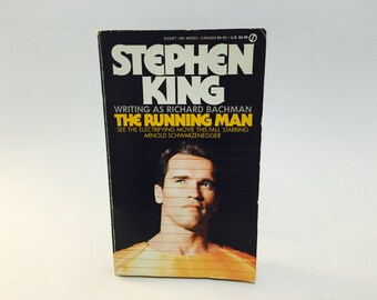 Vintage Sci Fi Book The Running Man by Stephen King as Richard Bachman 1987 Movie Tie-In Edition Paperback