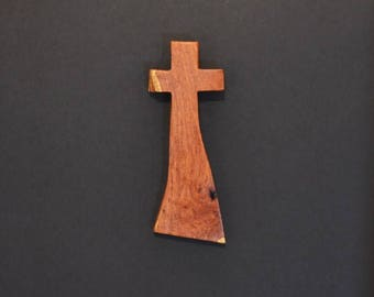 """Wooden Wall Cross; 4""""x10""""x1""""; Rustic Cabin Decor;  Unique Design; Crooked Cross; Mesquite; Handmade;  Free Ground Shipping cc25-2121617"""