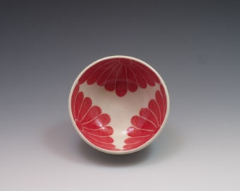 Small pottery bowl, pottery prep bowl, ceramic bowl, handpainted in red floral design