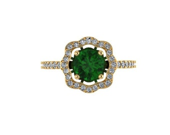 Diamond Flower Engagement Ring 14K Yellow Gold Wedding Ring Green Emerald Flower Engagement Ring Gift Ideas For Her May Birthstone - V1078