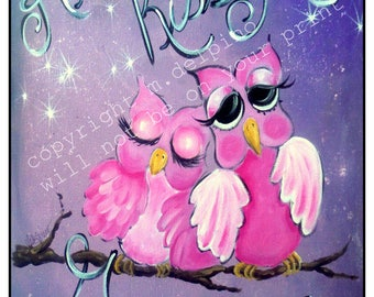 Nursery painting print, baby shower gift, Always Kiss Me Goodnight, pink and lavender, pink owl, new baby unique gift