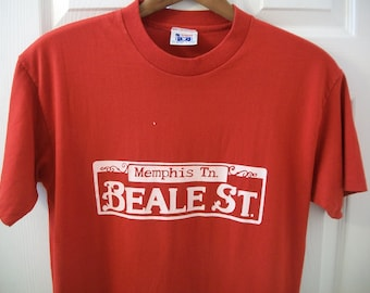 Vintage 80s Beale St. T tee Shirt Medium Street Tennessee Night Life Blues Music Festival Memphis Downtown Bar Tavern America's Finest 50/50