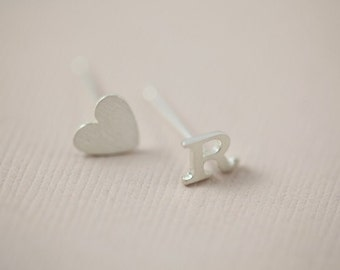 initial earrings, set of heart and letter earrings, personalized earrings - sterling silver