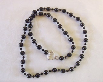 Black Swarovski Pearl Silver Delica Handwoven One of a Kind Necklace