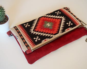 Ethnic zipped bag with flap pocket