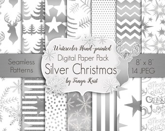 Silver Christmas  Paper, Christmas Digital Paper Pack, Holidays Digital Paper,  Snowflakes Paper, Paper for stickers, Winter Paper Pack
