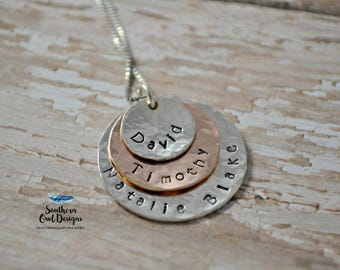 mom necklace, sterling silver mom necklace, layered mom necklace, grandma necklace, mother's day gift, gift for mom, hand stamped jewelry