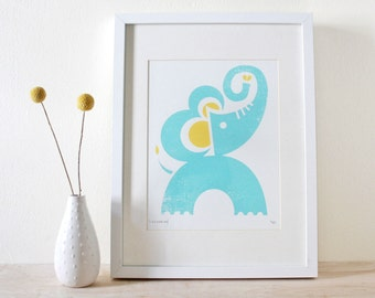 Kids Room Art, Playroom Art, Elephant Screenprint, Animal Print