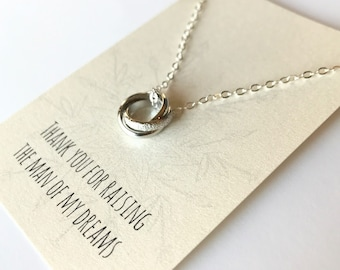 Triple Ring Necklace - Silver Rings Necklace - Love Knot Necklace - Mother of the Groom Gift - Gift from Bride - Past Present Future