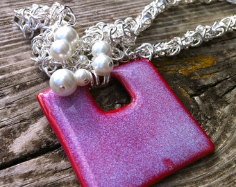 Necklace-Custom designed in Sterling silver, pearls and pottery-OOAK- Lexi