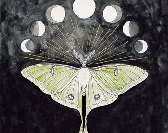 Luna Moth - Phases of the Moon - Painting • 8x10 print, 11x14 ready to frame